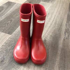 Hunter Kids Boots in Red, Size 11 (Big Kid)